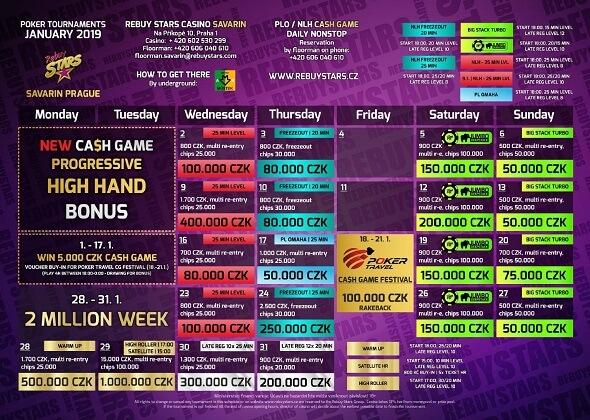 Lednové turnaje v Rebuy Stars Savarin